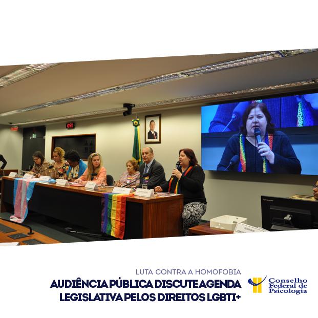 Mesa da audiência pública com participação do CFP, para discutir agenda legislativa pelos direitos LGBTI+