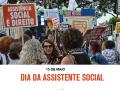 Imagem mostra manifestação de psicológas durante a abertura da XI Conferência Nacional de Assistência Social, realizada em 5 de dezembro de 2017, em Brasília. Abaixo da foto, o título da matéria diz: 15 de maio, Dia da Assistente Social. Abaixo, ao centro, está o logo do Conselho Federal de Psicologia