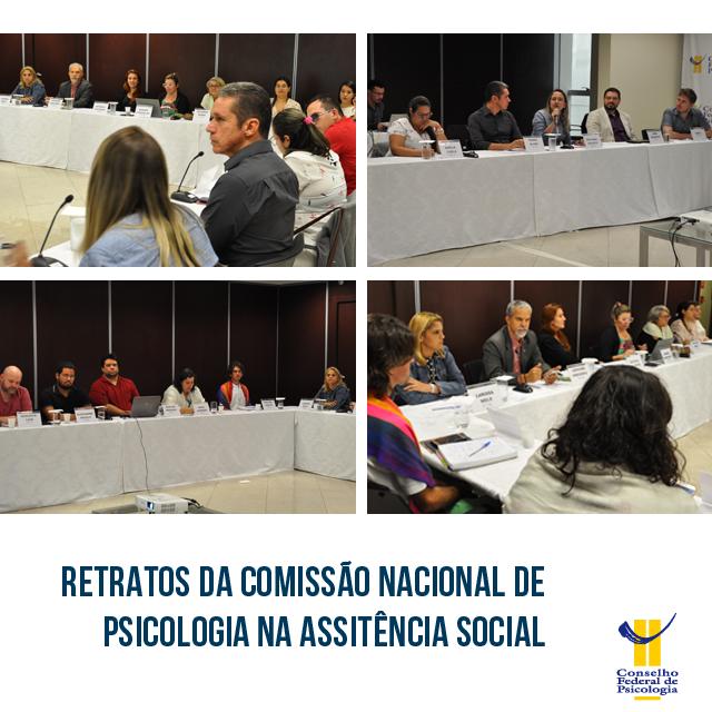 """Quatro fotos da reunião entre integrantes da Conpas e de 20 Conselhos Regionais de Psicologia ilustram a imagem. Abaixo, estão localizados o título da matéria - """"Retrato da Conpas"""" - e o logo do Conselho Federal de Psicologia"""
