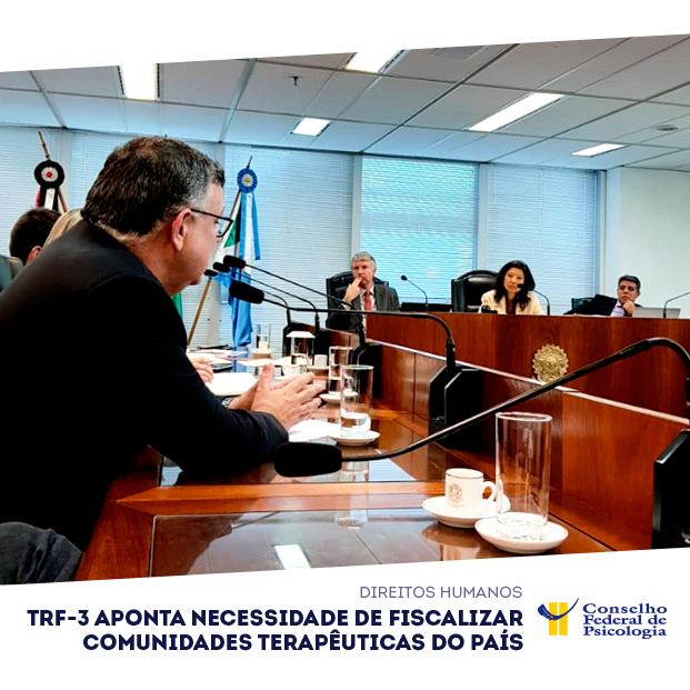 Presidente do CFP, Rogério Giannini aparece na foto falando, durante audiência no TRF 3