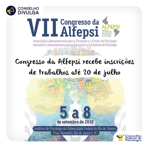 Imagem do cartaz do VII Congresso da Alfepsi, contendo imagens que relacionando a Psicologia com a cidade do Rio de Janeiro