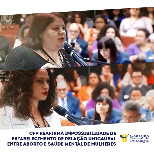 Foto mostra Sandra Sposito e Letícia Gonçalves defendendo, no STF, a posição do Conselho Federal de Psicologia sobre o aborto