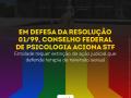 """Sobre bandeira LGBT, imagem mostra o título da matéria: """"Em defesa da Resolução 01/99, Conselho Federal de Psicologia aciona STF, e o logo do CFP"""