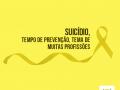 """Imagem com título em negro sobre fundo amarelo: """"Suicídio, tempo de prevenção, tema de muitas profissões"""". Logo do CFP está localizado na parte inferior da imagem à direita"""