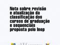 Nota sobre a revisao e atualizacao da classificacao dos cursos de graduacao e sequenciais proposta pelo Inep