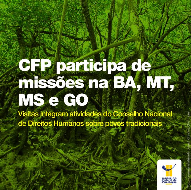 """Imagem de cena pantaneira mostra título da matéria acima: """"CFP participa de missões na BA, MT, MS e GO"""" e o logo do CFP abaixo à direita"""