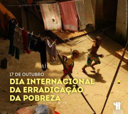 """Imagem mostra crianças brincando de bola em um quintal, com varal com roupas estendidas ao fundo. Na parte inferior, lê-se o título da matéria: """"17 de outubro, Dia Internacional da Erradicação da Pobreza. A logo do CFP está localizada na parte inferior à direita"""