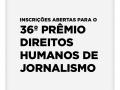 Inscrições abertas para o 36º Prêmio Direitos Humanos de Jornalismo